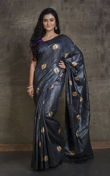 Embroidered Gicha Tussar Saree in Charcoal Black