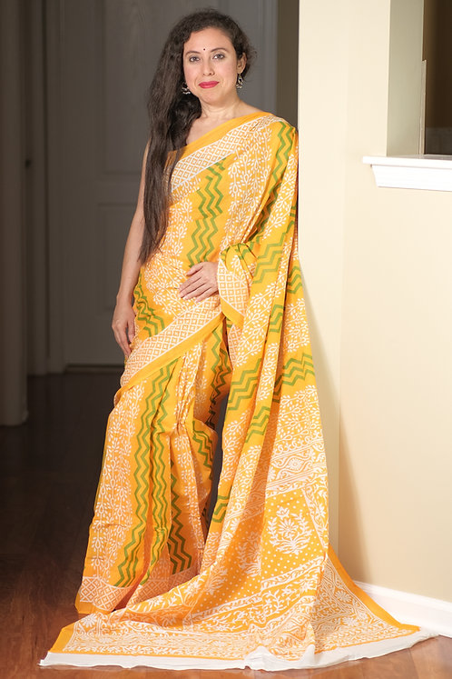 Soft Mulmul Cotton Saree in Yellow, White and Green