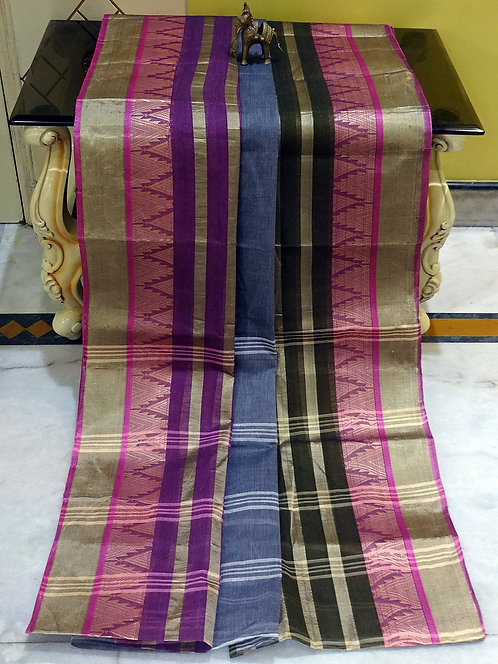 Bengal Handloom Cotton Saree with Starch in Grey, Purple and Green