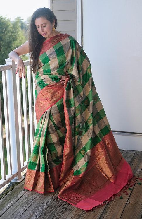 Pure Checks Dupion Tussar Banarasi Saree in Green, Off White and Red