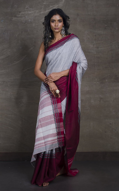 Bengal Handloom Soft Cotton Saree in Gray, Black and Maroon