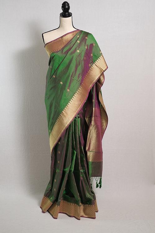Pure Katan Silk Banarasi Saree in English Green and Gold