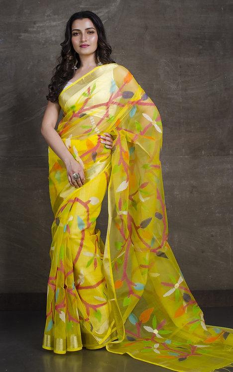 Muslin Jamdani Saree in Yellow and Gold