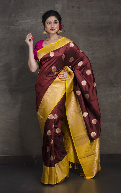 Pure Banarasi Silk Saree in Chocolate Brown and Yellow