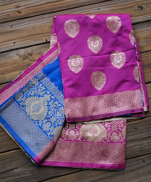 Art Silk Banarasi Saree in Purple, Blue and Gold