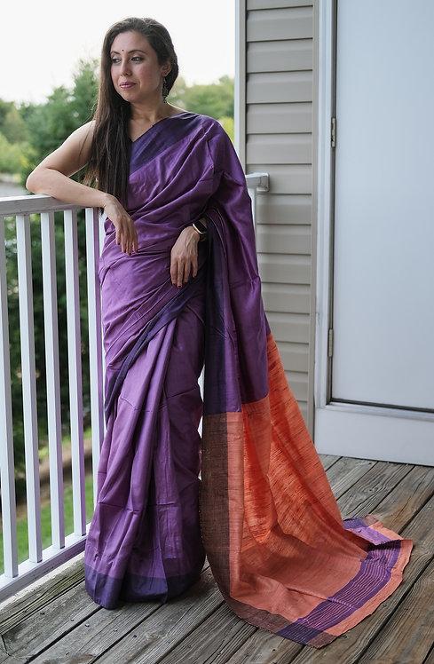 Staple Tussar Silk Saree in Violet and Orange