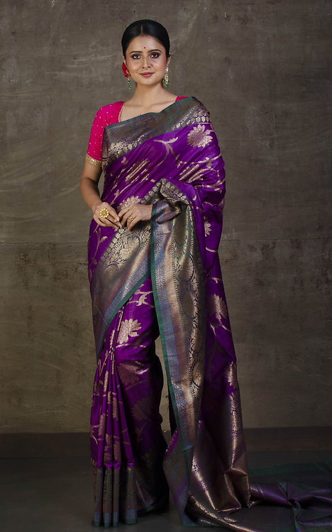 Pure Dupion Tussar  Banarasi Saree in Purple, Antique Gold and Fern Green