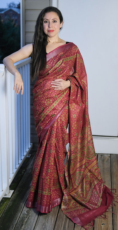 Block Printed Floral Linen Cotton Saree in Red and Green