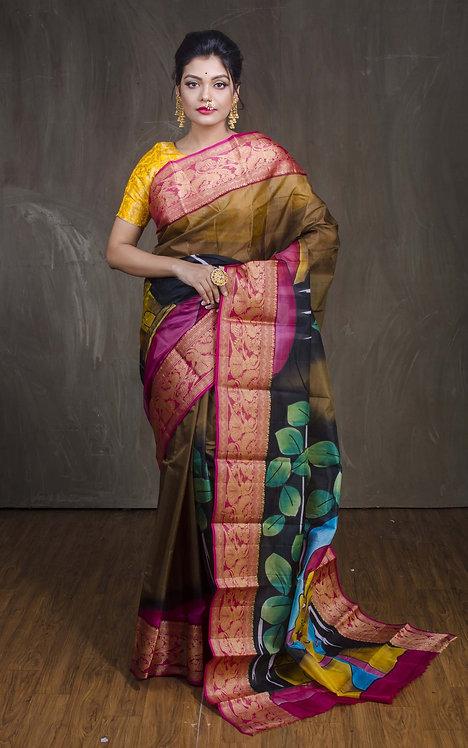 Printed Pure Silk Saree in Brown