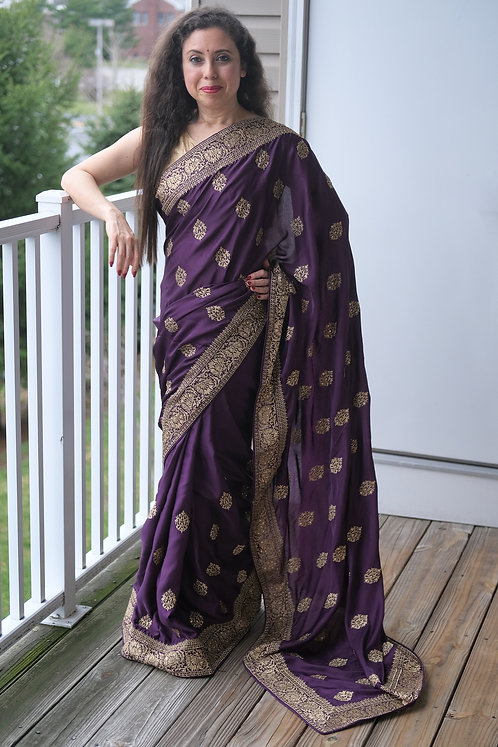 Designer Party Wear Zardosi Embroidery Satin Silk Saree in Purple