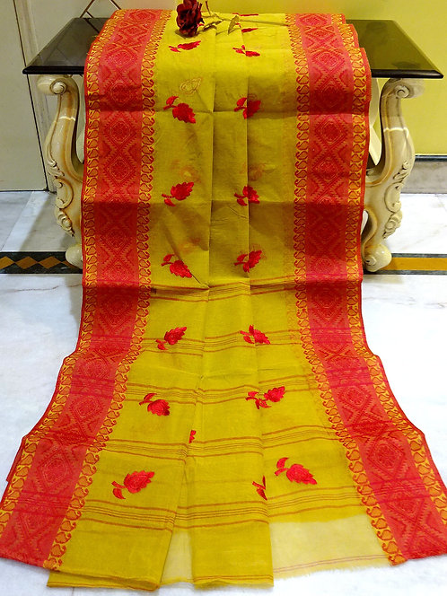 Bengal Handloom Cotton Embroidery Saree with Starch in Hena Green and Red