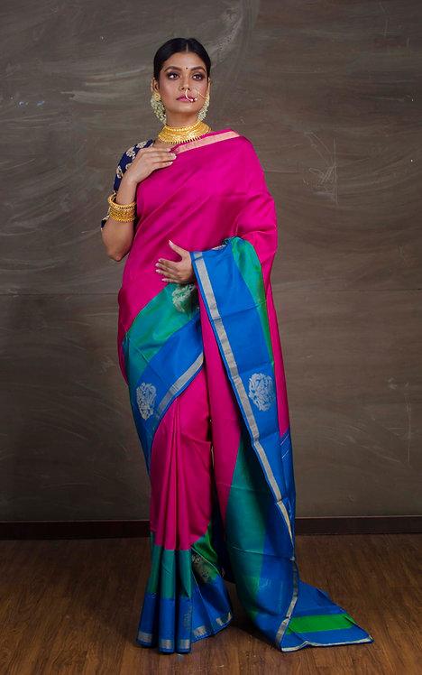 Exclusive Kanchipuram Silk Saree in Magenta, Blue and Rama Green