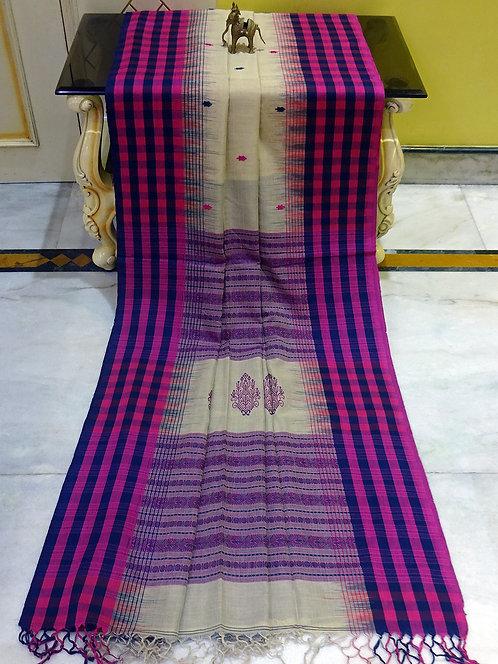 Checks Border Soft Cotton Kalakshetra Saree in Beige, Magenta and Blue