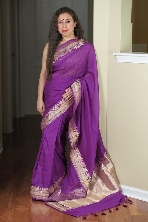 Pure Satin Georgette Banarasi Saree in Purple and Gold