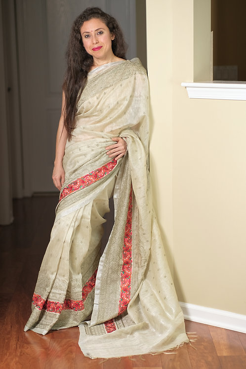 Silk Linen Embroidery Saree in English Gray and Silver