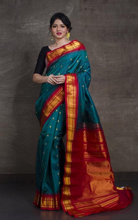 Gadwal Silk Saree in Rama Green and Dark Red