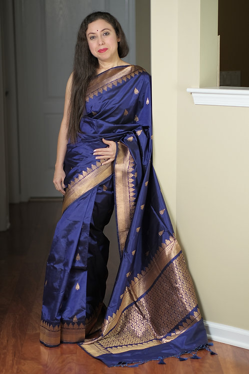 Banarasi Katan Silk Saree in Dark Blue and Antique Gold