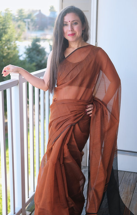 Soft Cotton Saree in Rust and Black
