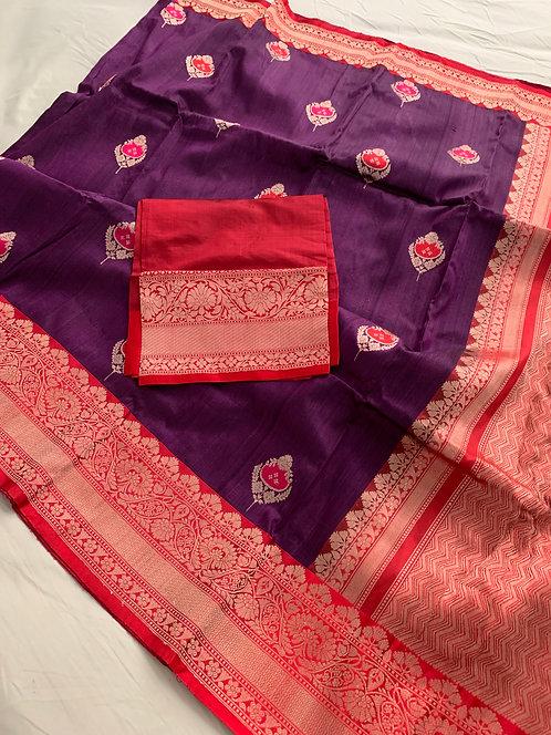 Pure Tussar Banarasi Minakari Saree in Purple and Red