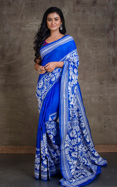 Pure Silk Hand Stitched Kantha Embroidery Saree in Royal Blue and White