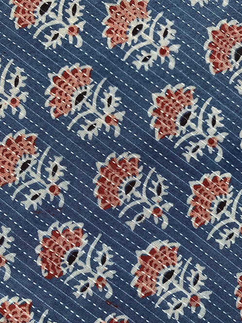 Hand Blocked Cotton Ajrakh Blouse Fabric with Stitch Work in Blue