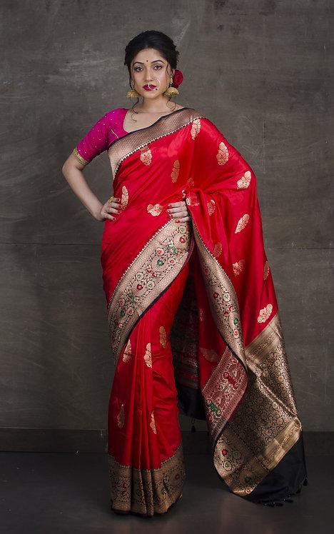 Pure Katan Minakari Banarasi Silk Saree in Red , Black and Gold