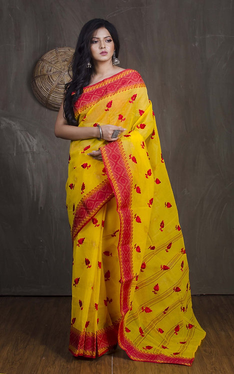 Bengal Handloom Embroidery Cotton Saree with Starch in Yellow and Red
