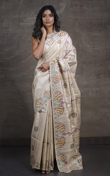 Hand Painted Madhubani  Saree on Pure Gicha Tussar Silk in Beige