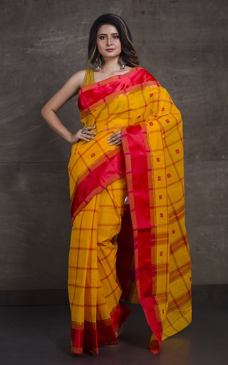Bengal Handloom Cotton Saree with Starch in Yellow and Red