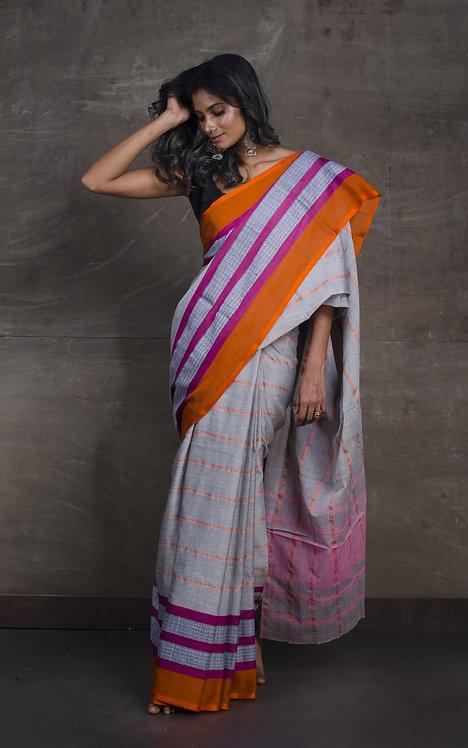 Bengal Handloom Designer Soft Cotton Saree in Grey, Magenta and Orange