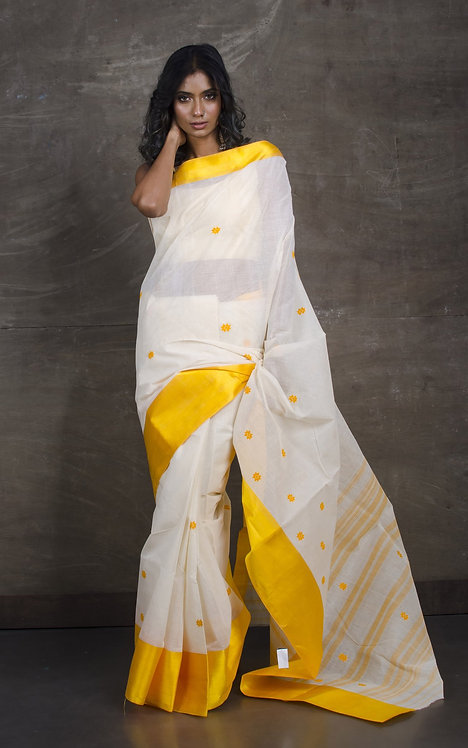 Bengal Handloom Cotton Saree with Starch in White and Yellow