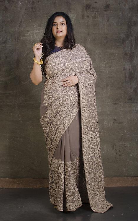 Lucknow Chikankari Designer Saree in English Brown