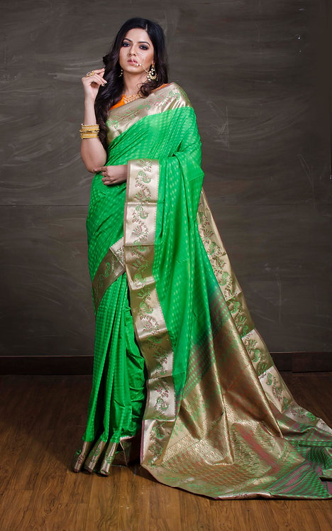 Art Silk Kanchipuram Saree in Bright Green and Brushed Gold