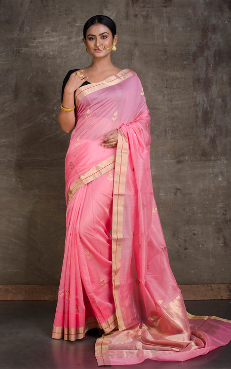 Pure Chanderi Silk Saree in Baby Pink and Gold