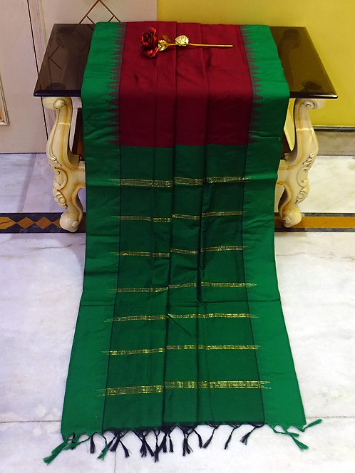 Soft South Cotton Gadwal Saree in Dark Red and Green