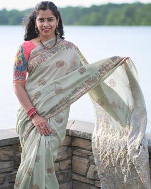 Kabi in her Madhubani Printed Semi Tussar Sari from Bengal Looms.