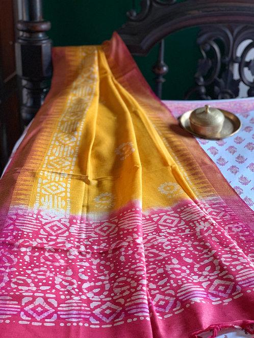 Hand Batik Cotton Silk Dupatta in Yellow and Pink