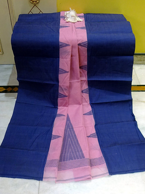 Bengal Handloom Cotton Saree with Starch in Pink and Blue