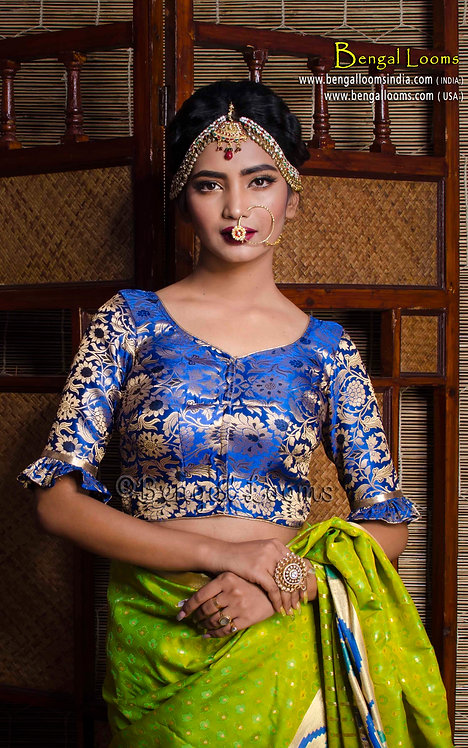 Royal Blue Banarasi Silk Saree Blouse in Size 32