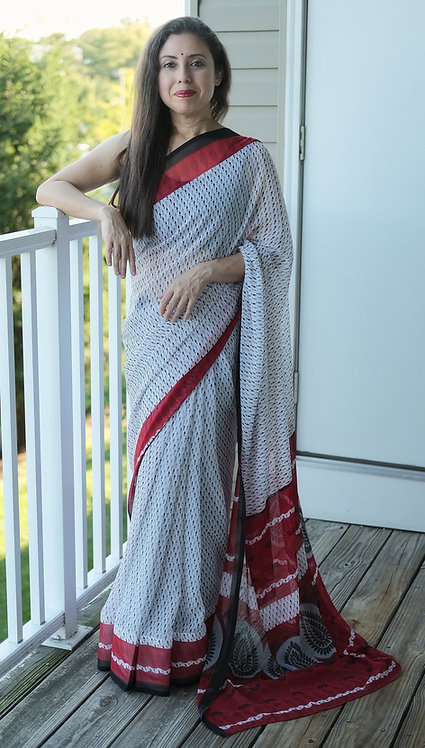 Printed Georgette Saree in White, Black and Red