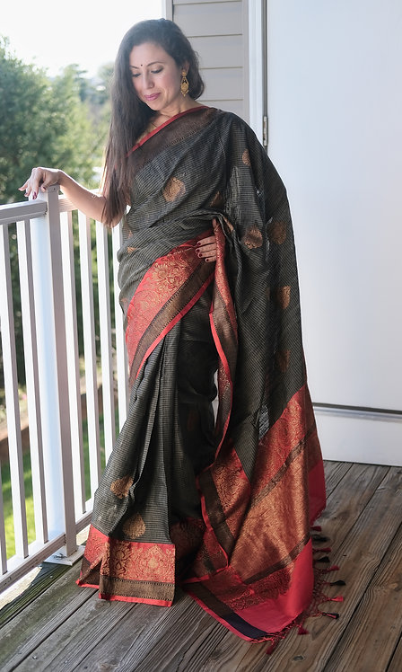 Pure Dupion Tussar Banarasi Saree in Charcoal Black and Red