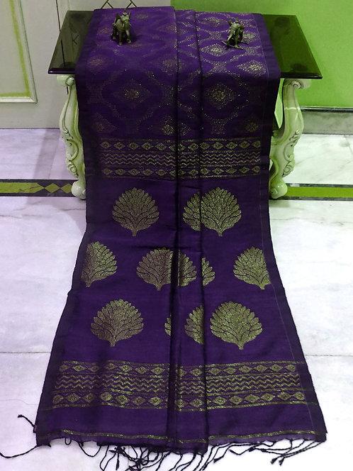 Jaal Work Linen Banarasi Saree in Purple and Gold