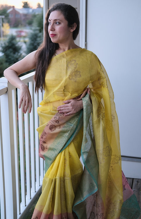 Hand Block Tissue Linen Saree in Yellow, Blue and Pink