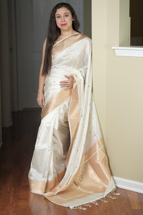 Pure Banarasi Katan Silk Saree in White, Silver and Gold