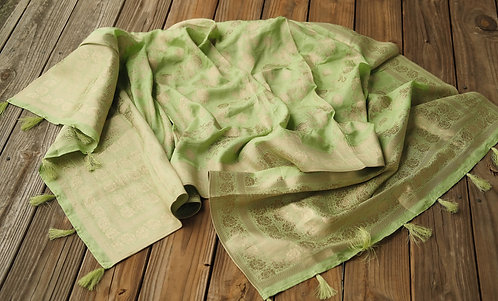 Banarasi Soft Silk Dupatta with Antique Zari in Sea Green