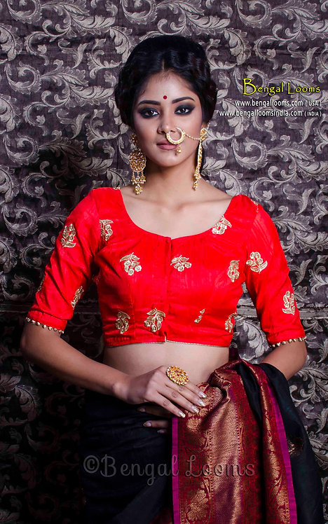 Bright Red Zari Embroidery Saree Blouse in Size 32