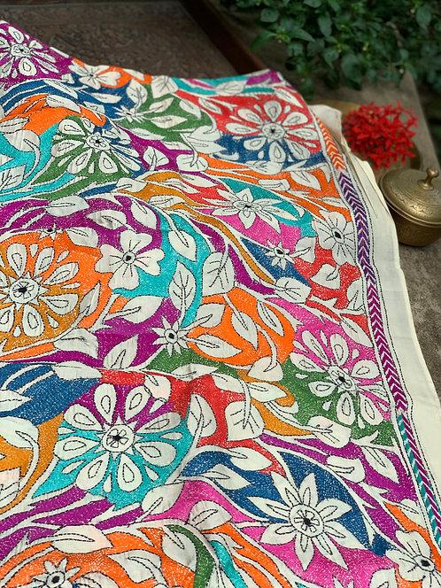 Hand Work Kantha Stitched Stole on Pure Tussar Silk