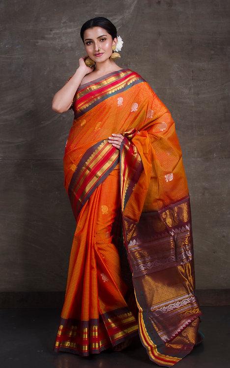 Pure Sico Gadwal Kuttu Saree in Orange and Purple