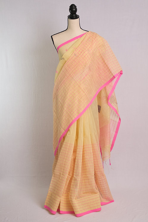 Soft Cotton Saree in Light Yellow, Blue and Pink