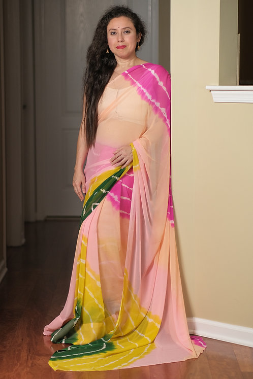 Leheriya Printed Chiffon Saree in Peach, Yellow and Pink